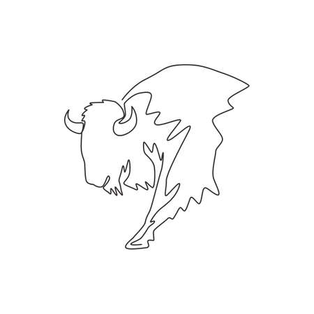 Single continuous line drawing of elegance american bison for multinational company logo identity. Luxury bull mascot concept for national park. One line draw design vector graphic illustration