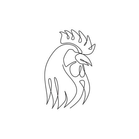 One continuous line drawing of tough rooster for poultry business logo identity. Chicken mascot concept for organic meat food icon. Trendy single line draw vector graphic design illustration