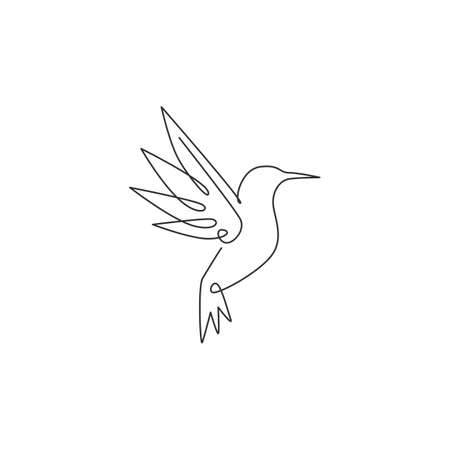 One single line drawing of cute hummingbird for company business logo identity. Little beauty bird mascot concept for avian national zoo park. Continuous line graphic vector draw design illustration