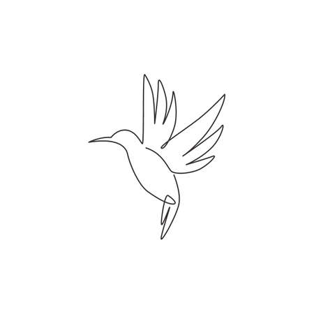 One continuous line drawing of cute hummingbird for company business logo identity. Little beauty bird mascot concept for conservation national forest. Single line draw vector design illustration Logo