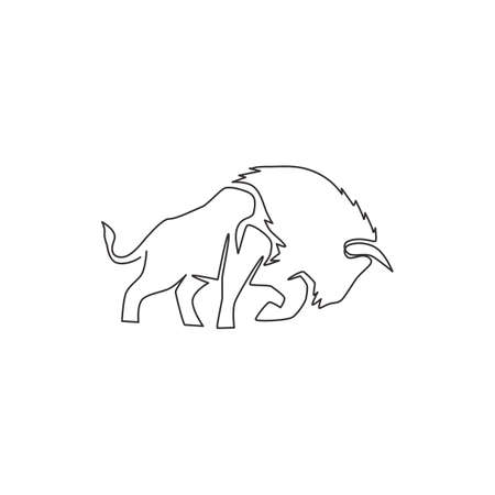One single line drawing of healthy organic american bison for livestock cattle logo identity. Big buffalo mascot concept for canned meat food. Dynamic one line vector graphic draw design illustration