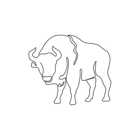 Single continuous line drawing of elegance american bison for multinational company logo identity. Luxury bull mascot concept for matador show. Trendy one line draw design vector graphic illustration