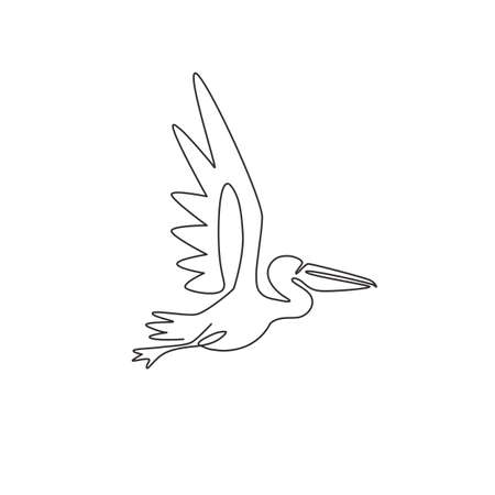 One continuous line drawing of cute pelican for delivery service company logo identity. Large bird mascot concept for product shipping service enterprise. Single line draw vector design illustration