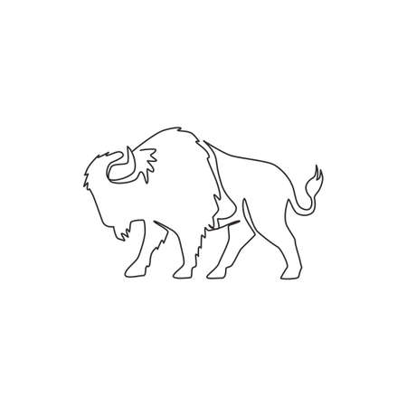 Single continuous line drawing of elegance american bison for multinational company logo identity. Luxury bull mascot concept for matador show. Trendy one line draw vector graphic design illustration