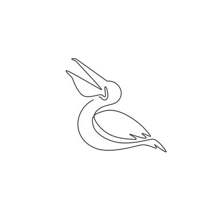 One continuous line drawing of cute pelican for delivery service company logo identity. Large bird mascot concept for product shipping service enterprise. Single line draw design vector illustration Иллюстрация