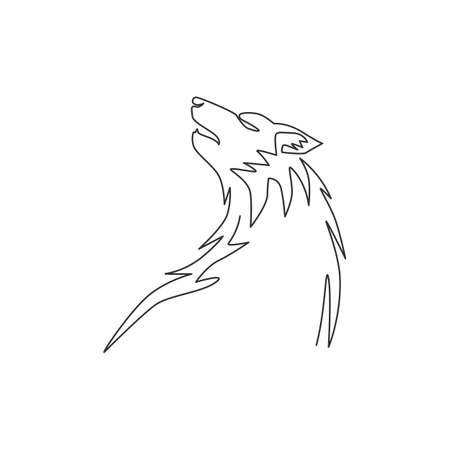 Single continuous line drawing of mysterious wolf head for e-sport team logo identity. Strong wolves mascot concept for national park icon. Dynamic one line draw graphic design vector illustration