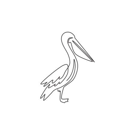 Single continuous line drawing of adorable pelican for shipment corporation logo identity. Large bird mascot concept for cargo delivery company. Trendy one line vector draw design graphic illustration