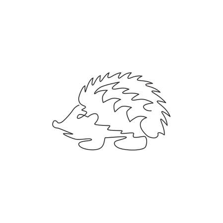 Single continuous line drawing of cute little baby hedgehog for logo identity. Funny thorny mammal rodent concept for pet lover icon. Trendy one line graphic draw design vector illustration Illustration