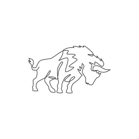 One single line drawing of healthy organic american bison for livestock cattle logo identity. Big buffalo mascot concept for canned meat food. Modern one line draw design vector graphic illustration