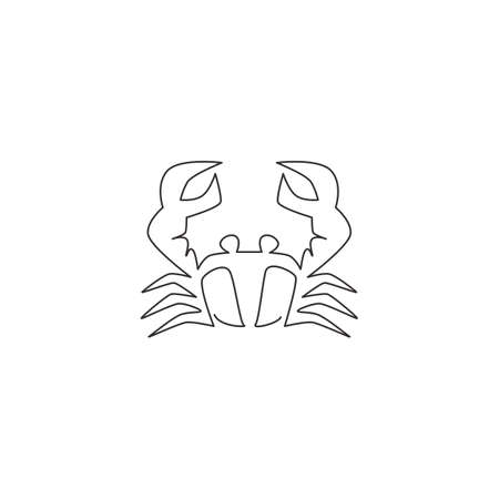 Single continuous line drawing of little crab with big claw for seafood logo identity. Cute sea animal concept for Chinese restaurant icon. Dynamic one line draw design graphic vector illustration