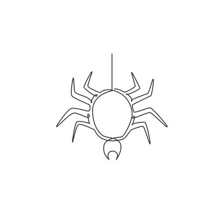 One continuous line drawing of spider pull out the web for business logo identity. Cute insect animal concept for pet lover icon. Trendy single line draw design vector graphic illustration