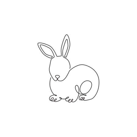 One single line drawing of cute pose rabbit for brand business logo identity. Adorable bunny animal mascot concept for breeding farm icon. Continuous line draw design vector graphic illustration