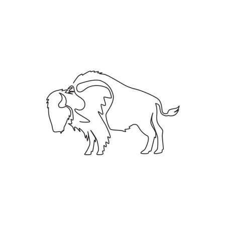 One continuous line drawing of strong north american bison for conservation forest logo identity. Big bull mascot concept for national park. Modern one line draw vector graphic design illustration Illusztráció