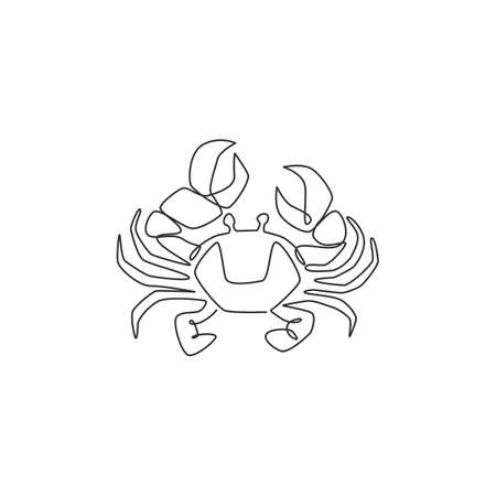 Single continuous line drawing of little crab with big claw for seafood logo identity. Sea animal concept for Chinese restaurant icon. Modern one line draw graphic design vector illustration