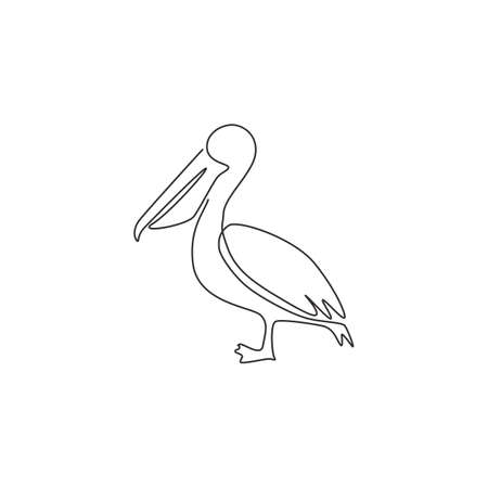 One single line drawing of cute pelican for company business logo identity. Big bird mascot concept for expedition corporation. Modern continuous line draw vector graphic design illustration 向量圖像