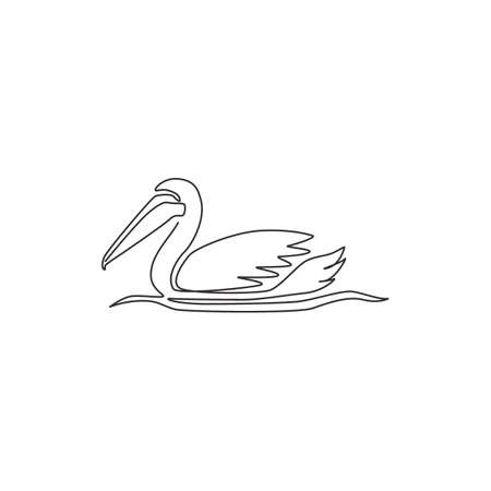 One single line drawing of cute pelican for company business logo identity. Big bird mascot concept for expedition corporation. Trendy continuous line draw design vector graphic illustration