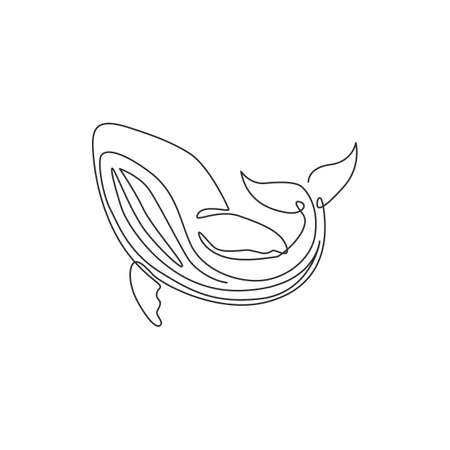 One single line drawing of big whale fish for company logo identity. Giant creature mammal animal mascot concept for conservation foundation. Continuous line draw graphic design vector illustration