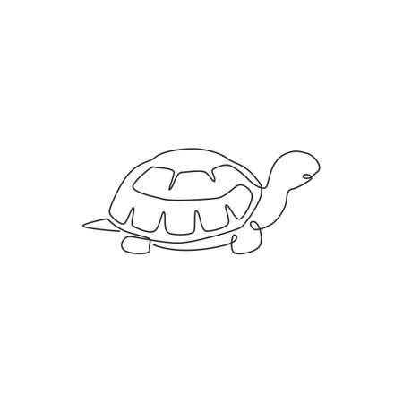 One single line drawing of big land tortoise for social company logo identity. Adorable creature reptile animal mascot concept for conservation foundation. Continuous line draw design illustration