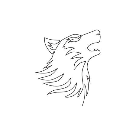 Single continuous line drawing of mysterious wolf head for e-sport team logo identity. Strong wolves mascot concept for national park icon. Modern one line draw design vector graphic illustration