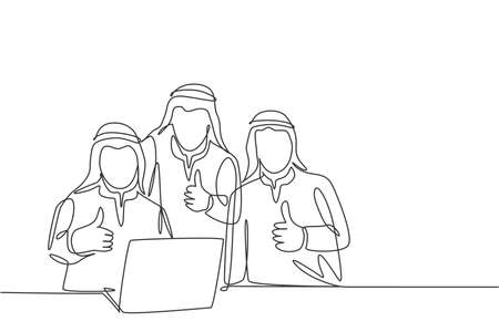Single continuous line drawing of young muslim team manager give thumbs up gesture while sitting in front of laptop. Arab middle east cloth kandura, thawb, robe. One draw design vector illustration