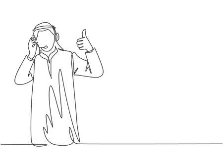 One continuous line drawing of young muslim customer care service give thumbs up gestures, call center. Islamic clothing shemag, kandura, scarf, keffiyeh. Single line draw design vector illustration