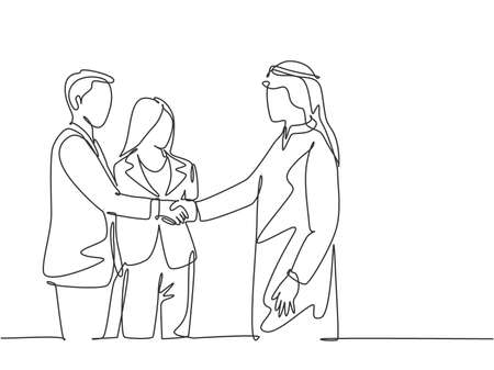 One continuous line drawing of young muslim business man handshake his company manager. Saudi Arabian businessmen with kandura, scarf and keffiyeh clothing. Single line draw design vector illustration