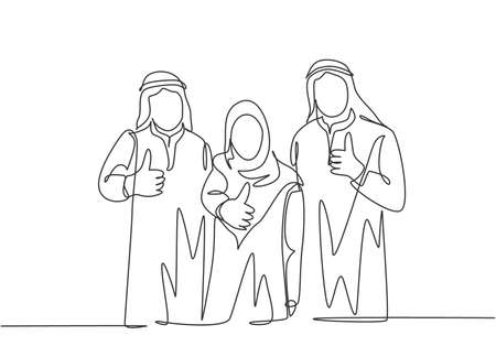 One continuous line drawing of young happy muslim employees giving thumbs up gesture to celebrate job promotion. Islamic clothing shemag, scarf, keffiyeh. Single line draw design vector illustration