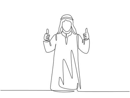 One single line drawing of young happy muslim startup team member giving thumb up gesture. Saudi Arabia cloth shmag, kandora, headscarf, thobe, ghutra. Continuous line draw design vector illustration