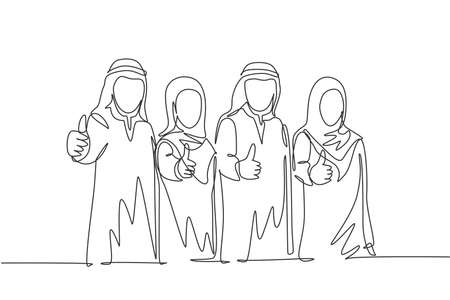 Single continuous line drawing of young muslim businessman and businesswoman giving thumbs up gestures. Arab middle east cloth shmagh, kandura, thawb, robe. One line draw design vector illustration