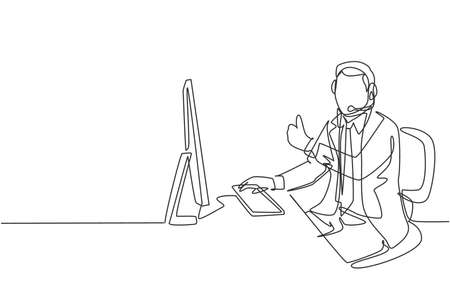 One continuous line drawing of young happy male call center worker giving thumbs up gesture while handle customer complaint. Customer service care concept single line draw design vector illustration