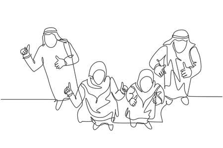 One continuous line drawing of young muslim businessman and businesswoman give thumb up gesture to audience. Islamic clothing kandura, scarf, keffiyeh. Single line draw design vector illustration