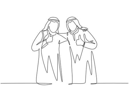 One single line drawing of young happy muslim businessman giving thumbs up gesture with colleague. Saudi Arabia cloth shmag, kandora, headscarf, thobe. Continuous line draw design vector illustration