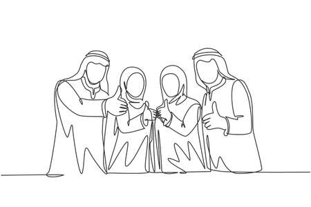 One single line drawing of young happy muslim businesspeople line up neatly and give thumbs up. Saudi Arabia cloth shmag, kandora, headscarf, ghutra. Continuous line draw design vector illustration