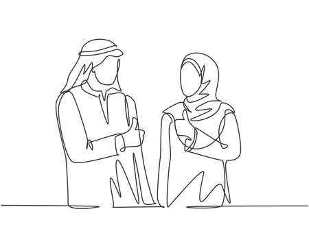 One continuous line drawing of young muslim male and female workers give thumbs up to celebrate job promotion. Islamic clothing hijab, scarf, keffiyeh. Single line draw design vector illustration