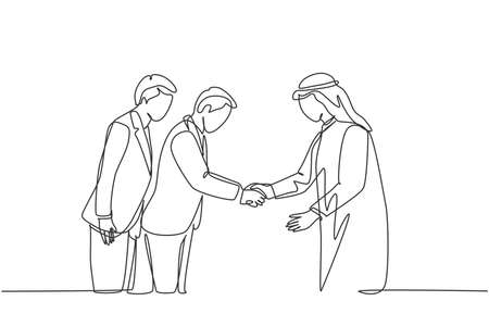 One continuous line drawing of young muslim business man bowing to his Japanese partner. Saudi Arabian businessmen with shemag, kandura, and scarf clothing. Single line draw design vector illustration