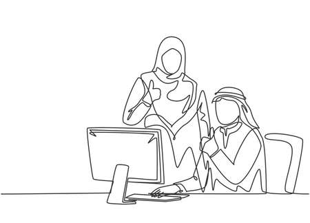 Single continuous line drawing of young muslim male and female employees give thumbs up gestures. Arab middle east cloth shmagh, kandura, thawb, robe. One line draw design vector illustration