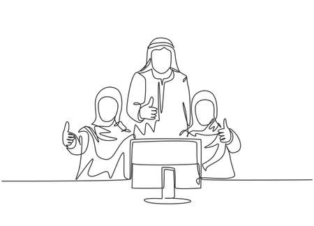 One continuous line drawing of young muslim male and female company workers giving thumbs up gestures. Islamic clothing shemag, kandura, scarf, keffiyeh. Single line draw design vector illustration