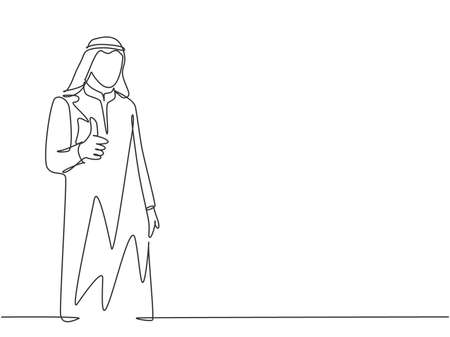 One continuous line drawing of young muslim company branch manager giving thumbs up gestures. Islamic clothing shemag, kandura, scarf, keffiyeh. Single line draw design vector graphic illustration