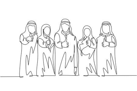 One continuous line drawing of young muslim male and female managers giving thumbs up gestures. Islamic clothing shemag, kandura, scarf, keffiyeh. Single line draw design vector illustration 向量圖像