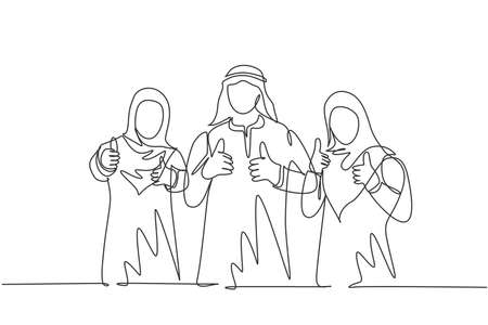 Single continuous line drawing of young muslim general manager with his assistants giving thumb up gestures. Arab middle east cloth kandura, thawb, robe. One line draw design vector illustration 向量圖像
