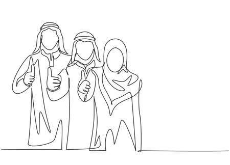 Single continuous line drawing of young muslim male and female marketing managers giving thumbs up gestures. Arab middle east cloth shmagh, kandura, thawb. One line draw design vector illustration