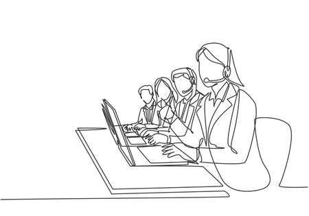 One continuous line drawing group of male and female call center team members answer complain phone call from clients kindly. Customer service concept single line draw design vector illustration