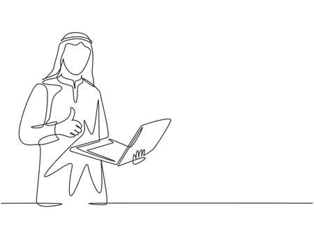 Single continuous line drawing of young muslim businessman holding laptop on his hand and give thumbs up gesture. Arab middle east cloth kandura, thawb, robe. One line draw design vector illustration