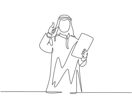 Single continuous line drawing of young muslim business manager give thumbs up and hold company rule policy. Arab middle east cloth shmagh, kandura, robe. One line draw design vector illustration