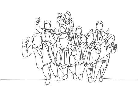 One single line drawing of young happy male and female managers raise their hand into the air and giving thumbs up gesture. Business celebration concept continuous line draw design vector illustration 向量圖像