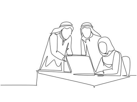 One single line drawing of young happy muslim workers discussing sales marketing strategy. Saudi Arabia cloth shmag, kandora, headscarf, thobe, ghutra. Continuous line draw design vector illustration