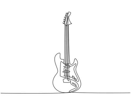 Single continuous line drawing of electric guitar. Stringed music instruments concept. Trendy one line graphic draw design vector illustration Ilustrace