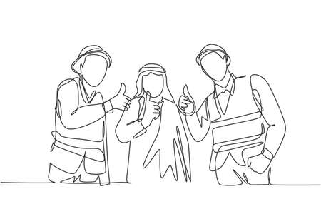 One continuous line drawing of young muslim businessman and building contractor giving thumbs up together. Islamic clothing shemag, kandura, scarf keffiyeh. Single line draw design vector illustration