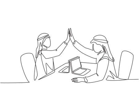 One single line drawing of young happy muslim marketing manager giving high five hands gesture. Saudi Arabian with kandora, headscarf, thobe, ghutra. Continuous line draw design vector illustration