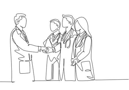 One continuous single line drawing of hospital head giving congratulate handshake to group of doctors for the achievements. Medical award concept single line draw graphic design vector illustration